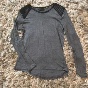 Long sleeve leather accented Zara shirt